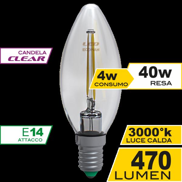 Candela Filamento Clear 4W E14 Luce Calda Simboli