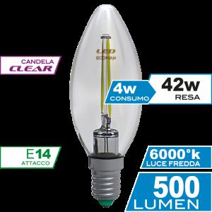 Candela Filamento Clear 4W E14 Luce Fredda Simboli