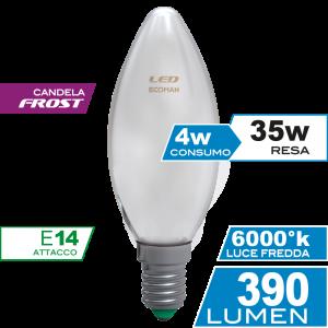 Candela Filamento Frost 4W E14 Luce Fredda