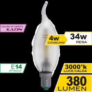 Colpo di Vento Filamento Satin 4W E14 Luce Calda Simboli