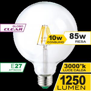 Globo 125 Filamento Clear 10W E27 Luce Calda Simboli
