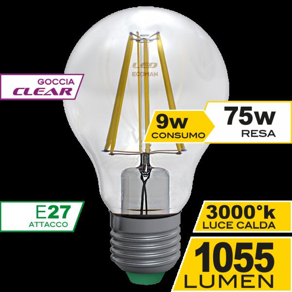 Goccia Filamento Clear 9W E27 Luce Calda Simboli