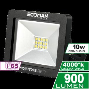 Proiettore Mini Slim 10W Luce Naturale Black Simboli