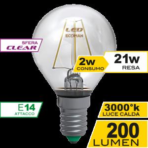 Sfera Filamento Clear 2W E14 Luce Calda Simboli