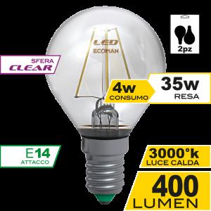 Sfera Filamento Clear 4W E14 Luce Calda Bipack Simboli