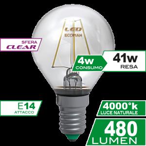 Sfera Filamento Clear 4W E14 Luce Naturale Simboli