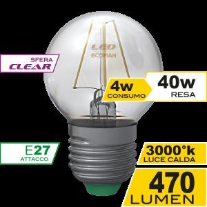 Sfera Filamento Clear 4W E27 Luce Calda Simboli