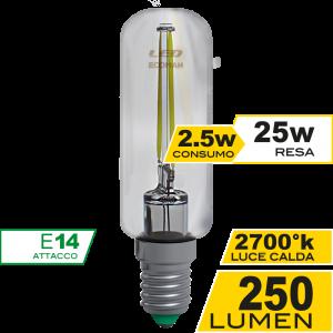 Tubolare Filamento Clear 2,5W E14 Luce Calda Simboli