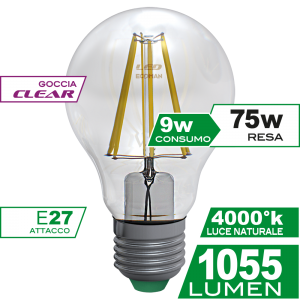 Goccia Filamento Clear 9W E27 Luce Naturale Simboli