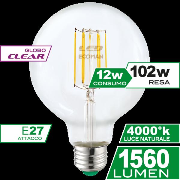 Globo 95 Filamento Clear 12W E27 Luce Naturale Simboli
