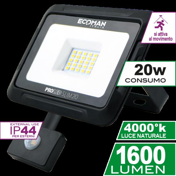 ProLed Slim 20W Sensor Luce Naturale Simboli