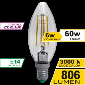 Candela Filamento Clear 6W E14 Luce Calda Simboli
