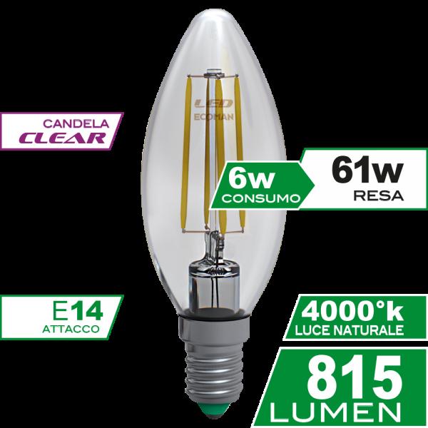 Candela Filamento Clear 6W E14 Luce Naturale Simboli