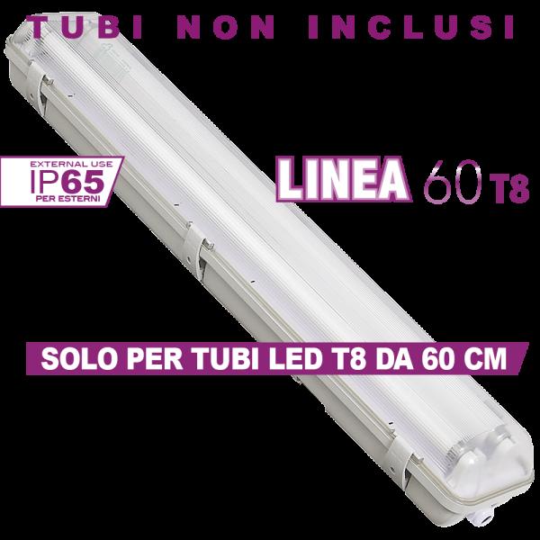 Plafoniera T8 Linea 60 X2 Simboli