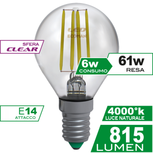 Sfera Filamento Clear 6W E14 Luce Naturale Simboli