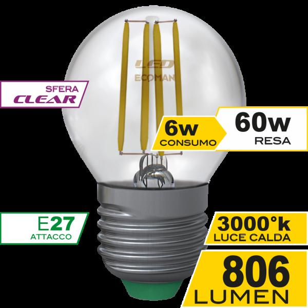 Sfera Filamento Clear 6W E27 Luce Calda Simboli